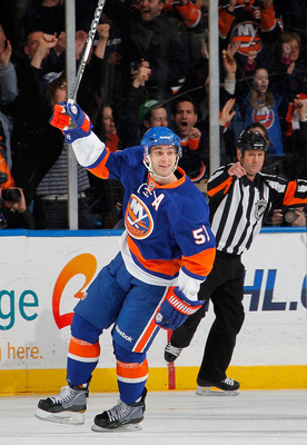 UNIONDALE, NY - FEBRUARY 19:  Frans Nielsen #51 of the New York Islanders celebrates scoring a shorthanded goal during the first period of an NHL hockey game against the Los Angeles Kings at the Nassau Coliseum on February 19, 2011 in Uniondale, New York.