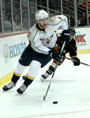 ANAHEIM - APRIL 22:  Cody Franson #4 of the Nashville Predators skates with the puck against the Anaheim Ducks in Game Five of the Western Conference Quarterfinals during the 2011 NHL Stanley Cup Playoffs at Honda Center on April 22, 2011 in Anaheim, Cali