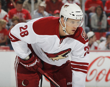 DETROIT, MI - APRIL 16: Lauri Korpikoski #28 of the Phoenix Coyotes looks on the Detroit Red Wings in Game Two of the Western Conference Quarterfinals during the 2011 Stanley Cup Playoffs at Joe Louis Arena on April 16, 2011 in Detroit, Michigan.  (Photo