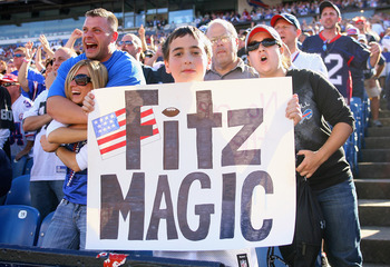 ORCHARD PARK, NY - SEPTEMBER 18: Fans of the Buffalo Bills show their support for their quarterback Ryan Fitzpatrick #14 against the Oakland Raiders at  Ralph Wilson Stadium on September 18, 2011 in Orchard Park, New York. Buffalo won 38-35.  (Photo by Ri