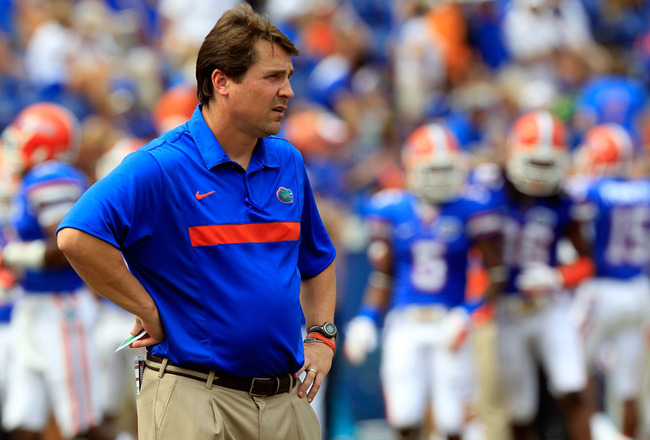 GAINESVILLE, FL - SEPTEMBER 17:  Florida Gators head coach Will Muschamp watches the action before the game against the Tennessee Volunteers at Ben Hill Griffin Stadium on September 17, 2011 in Gainesville, Florida.  (Photo by Sam Greenwood/Getty Images)