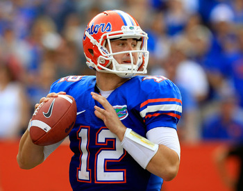 GAINESVILLE, FL - SEPTEMBER 17:  Quarterback John Brantley #12 of the Florida Gators attempts a pass during a game against the Tennessee Volunteers at Ben Hill Griffin Stadium on September 17, 2011 in Gainesville, Florida.  (Photo by Sam Greenwood/Getty I