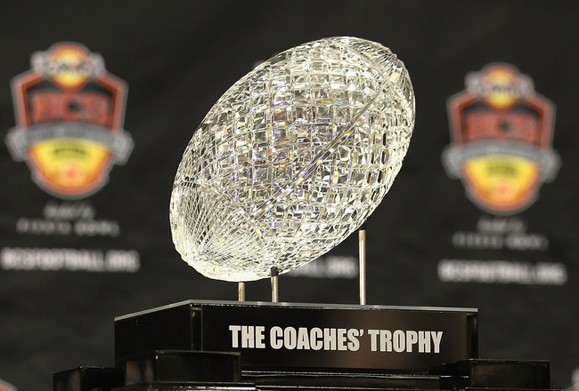 SCOTTSDALE, AZ - JANUARY 07:  The coaches trophy is displayed during Media Day for the Tostitos BCS National Championship Game at the JW Marriott Camelback Inn on January 7, 2011 in Scottsdale, Arizona.  (Photo by Christian Petersen/Getty Images)