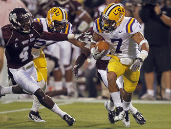 STARKVILLE, MS - SEPTEMBER 15:  Cornerback Tyrann Mathieu #7 of the LSU Tigers fields a punt during the game against the Mississippi State Bulldogs on September 15, 2011 at Davis Wade Stadium in Starkville, Mississippi. (Photo by Butch Dill/Getty Images)