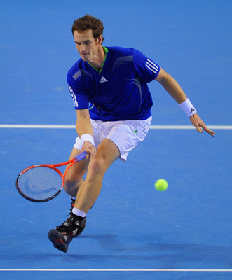 GLASGOW, SCOTLAND - SEPTEMBER 16:  Andy Murray of Great Britain in action during his match against Sebo Kiss of Hungary on day one of the Davis Cup tie between Great Britain and Hungary at the Braehead Arena on September 16, 2011 in Glasgow, Scotland.  (P