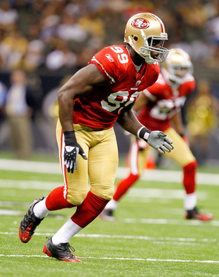 NEW ORLEANS, LA - AUGUST 12: Aldon Smith #99 of the San Francisco 49ers runs off the line against the New Orleans Saints during their pre season game at Louisiana Superdome on August 12, 2011 in New Orleans, Louisiana.  (Photo by Sean Gardner/Getty Images