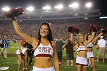 TALLAHASSEE, FL - SEPTEMBER 17:  A Florida State Seminoles cheerleader during a game against the Oklahoma Sooners at Doak Campbell Stadium on September 17, 2011 in Tallahassee, Florida.  (Photo by Ronald Martinez/Getty Images)