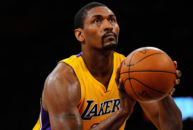 LOS ANGELES, CA - APRIL 20:  Ron Artest #15 of the Los Angeles Lakers shoots a free throw while taking on the New Orleans Hornets in Game Two of the Western Conference Quarterfinals in the 2011 NBA Playoffs on April 20, 2011 at Staples Center in Los Angel