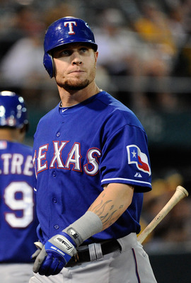 OAKLAND, CA - SEPTEMBER 20: Josh Hamilton #32 of the Texas Rangers looks on as he walks back to the dugout after striking out against the Oakland Athletics in the eighth inning during an MLB baseball game at O.co Coliseum on September 20, 2011 in Oakland,