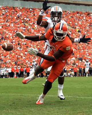 CLEMSON, SC - SEPTEMBER 17:  Ryan White #19 of the Auburn Tigers breaks up a pass to Sammy Watkins #2 of the Clemson Tigers during their game at Memorial Stadium on September 17, 2011 in Clemson, South Carolina.  (Photo by Streeter Lecka/Getty Images)
