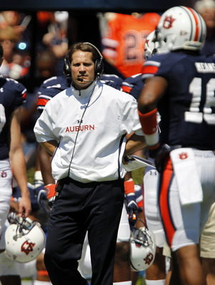 AUBURN, AL - SEPTEMBER 10:  Coach Gene Chizik of the Auburn Tigers looks on in the first half during a game against the Mississippi State Bulldogs on September 10, 2011 at Jordan-Hare Stadium in Auburn, Alabama. (Photo by Butch Dill/Getty Images)