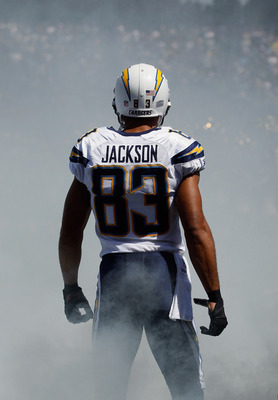 SAN DIEGO, CA - SEPTEMBER 11:  Wide receiver Vincent Jackson #83 of the San Diego Chargers is introduced prior to the start of the game against the Minnesota Vikings at Qualcomm Stadium on September 11, 2011 in San Diego, California.  (Photo by Jeff Gross