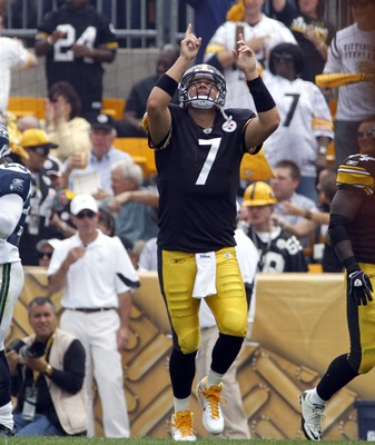 PITTSBURGH, PA - SEPTEMBER 18:   Ben Roethlisberger #7 of th e Pittsburgh Steelers celebrates the opening touchdown against hte Seattle Seahawks during the game on September 18, 2011 at Heinz Field in Pittsburgh, Pennsylvania.  (Photo by Justin K. Aller/G