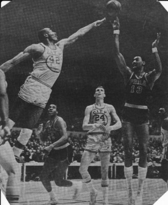 Game Six of the 1967 NBA Finals, Chamberlain shoots the fadeaway.