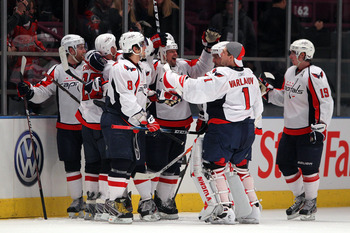 NEW YORK, NY - APRIL 20:  The Washington Capitals celebrate after they won 4-3 in double overtime against the New York Rangers in Game Four of the Eastern Conference Quarterfinals during the 2011 NHL Stanley Cup Playoffs at Madison Square Garden on April