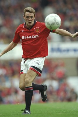 17 Sep 1994:  Steve Bruce of Manchester United in action during an FA Carling Premiership match against Liverpool at Old Trafford in Manchester, England. Manchester United won the match 2-0. \ Mandatory Credit: Shaun  Botterill/Allsport