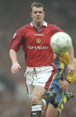 1 Feb 1997:  Gary Pallister of Manchester United in action during the FA Carling Premier League match between Manchester United and Southampton at Old Trafford in Manchester. Manchester United won the match 2-1.  \ Mandatory Credit: Mark Thompson /Allspor