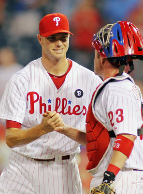 PHILADELPHIA , PA - AUGUST 18:  Ryan Madson #46 and Brian Schneider #23 of the Philadelphia Phillies celebrate a 4-1 win against the Arizona Diamondbacks at Citizens Bank Park on August 18, 2011 in Philadelphia, Pennsylvania.  The win gave the Phillies th