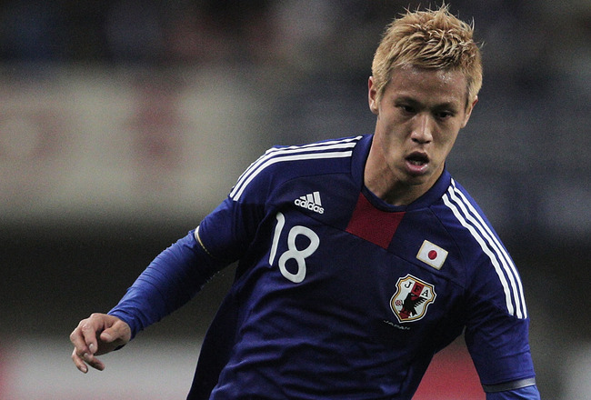 NIIGATA, JAPAN - JUNE 01:  Keisuke Honda in action during the international friendly match between Japan and Peru at Tohoku Denryoku Big Swan Stadium on June 1, 2011 in Niigata, Japan.  (Photo by Adam Pretty/Getty Images)