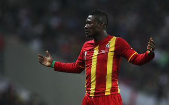 LONDON, ENGLAND - MARCH 29:  Asamoah Gyan of Ghana reacts during the international friendly match between England and Ghana at Wembley Stadium on March 29, 2011 in London, England.  (Photo by Clive Rose/Getty Images)