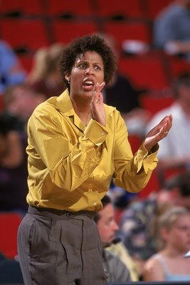 28 Jul 2000:  Coach Cheryl Miller of the Phoenix Mercury shows emotions during the game against the Seattle Storm at the Key Arena in Seattle, Washington. The Mercury defeated the Storm 65-55.  NOTE TO USER: It is expressly understood that the only rights