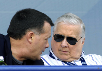 TAMPA, FL - APRIL 01:  Owner George Steinbrenner of the New York Yankees talks with his son, Hank, against the Philadelphia Phillies at George Steinbrenner Field April 1, 2009 in Tampa, Florida.  (Photo by Al Messerschmidt/Getty Images)