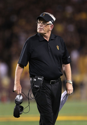 TEMPE, AZ - SEPTEMBER 09:  Head coach Dennis Erickson of the Arizona State Sun Devils reacts during the college football game against the Missouri Tigers at Sun Devil Stadium on September 9, 2011 in Tempe, Arizona.  (Photo by Christian Petersen/Getty Imag