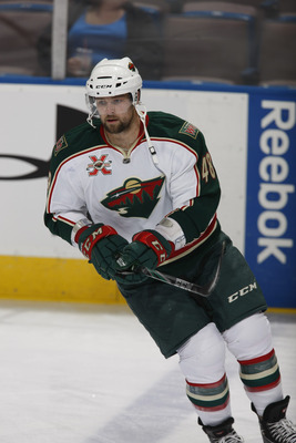 EDMONTON, CANADA - OCTOBER 21: Guillaume Latendresse #48 of the Minnesota Wild skates against the Edmonton Oilers on October 21, 2010 at Rexall Place in Edmonton, Alberta, Canada. (Photo by Dale MacMillan/Getty Images)