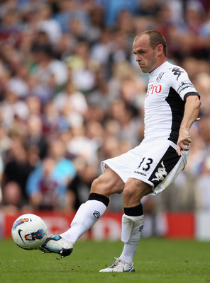 LONDON, ENGLAND - AUGUST 13:  Danny Murphy of Fulham in action during the Barclays Premier League match between Fulham and Aston Villa at Craven Cottage on August 13, 2011 in London, England.  (Photo by Ian Walton/Getty Images)