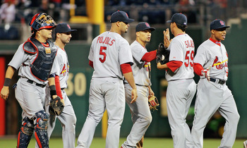 PHILADELPHIA , PA - SEPTEMBER 18:  Members of the St Louis Cardinals celebrate a 5-0 win against  the Philadelphia Phillies at Citizens Bank Park on September 18, 2011 in Philadelphia, Pennsylvania.  (Photo by Len Redkoles/Getty Images)