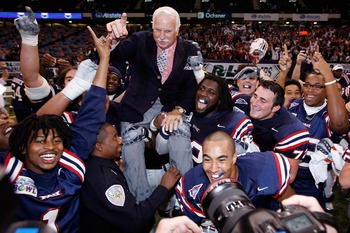 NEW ORLEANS - DECEMBER 21:  Head coach Howard Schnellenberger of the Florida Atlantic University Owls is carried on his team's shoulders after defeating the Memphis University Tigers 44-27 in the New Orleans Bowl on December 21, 2007 at the Louisiana Supe