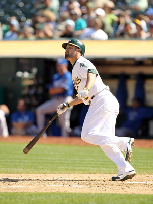OAKLAND, CA - SEPTEMBER 05:  David DeJesus #12 of the Oakland Athletics bats against the Kansas City Royals at O.co Coliseum on September 5, 2011 in Oakland, California.  (Photo by Ezra Shaw/Getty Images)