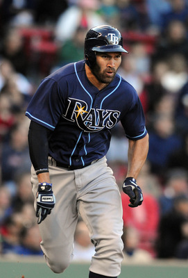 BOSTON, MA - SEPTEMBER 18: Johnny Damon #22 of the Tampa Bay Rays runs to first base in the ninth inning against the Boston Red Sox at Fenway Park on September 18, 2011 in Boston, Massachusetts. The Rays won the game 8-5. (Photo by Darren McCollester/Gett