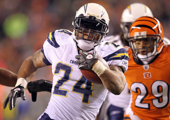CINCINNATI - DECEMBER 26:  Ryan Matthews #24 of the San Diego Chargers runs for a touchdown during the NFL game against the Cincinnati Bengals at Paul Brown Stadium on December 26, 2010 in Cincinnati, Ohio.  The Bengals won 34-20. (Photo by Andy Lyons/Get