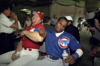 7 Sep 1998:  Mark McGwire #25 of the St. Louis Cardinals and Sammy Sosa #21 of the Chicago Cubs share a laugh following McGwire''s 61st home run of the year press conference at Busch Stadium in St. Louis, Missouri. The Cardinals defeated the Cubs 3-2.