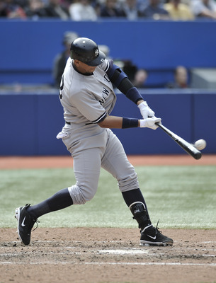TORONTO, CANADA - SEPTEMBER 17:  Alex Rodriguez #13 of the New York Yankees bats during MLB game action against the Toronto Blue Jays September 17, 2011 at Rogers Centre in Toronto, Ontario, Canada. (Photo by Brad White/Getty Images)