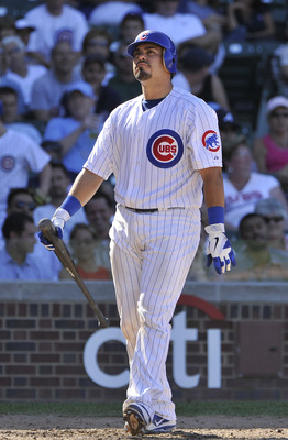 CHICAGO, IL - AUGUST 25:  Geovany Soto #18 of the Chicago Cubs reacts after striking out looking in the ninth inning against the Atlanta Braves at Wrigley Field on August 25, 2011 in Chicago, Illinois.  (Photo by Brian Kersey/Getty Images)