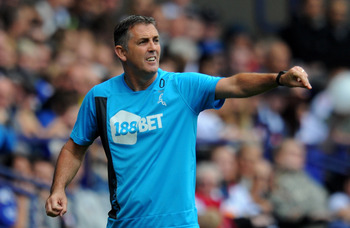 BOLTON, ENGLAND - AUGUST 21:  Bolton Wanderers Manager Owen Coyle gestures during the Barclays Premier League match between Bolton Wanderers and Manchester City at the Reebok Stadium on August 21, 2011 in Bolton, England.  (Photo by Michael Regan/Getty Im