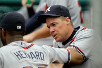 WASHINGTON, DC - AUGUST 03: Jason Heyward #22 of the Atlanta Braves talks with teammate Chipper Jones #10 during the Braves game against the Washington Nationals at Nationals Park on August 3, 2011 in Washington, DC.  (Photo by Rob Carr/Getty Images)