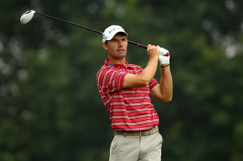 EDISON, NJ - AUGUST 27:  Padraig Harrington of Ireland watches his tee shot on the second hole during the third and final round of The Barclays at Plainfield Country Club on August 27, 2011 in Edison, New Jersey. The tournament was cut down from a 72 hole