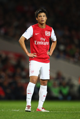 LONDON, ENGLAND - SEPTEMBER 20:  Ryo Miyaichi of Arsenal looks on during the Carling Cup Third Round match between Arsenal and Shrewsbury Town at Emirates Stadium on September 20, 2011 in London, England.  (Photo by Julian Finney/Getty Images)
