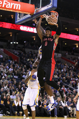 OAKLAND, CA - MARCH 25:  James Johnson #0 of the Toronto Raptors in action against the Golden State Warriors at Oracle Arena on March 25, 2011 in Oakland, California. NOTE TO USER: User expressly acknowledges and agrees that, by downloading and or using t