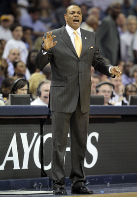 MEMPHIS, TN - APRIL 29: Lionel Hollins the Head Coach of the Memphis Grizzlies gives instructions to his team during the game against the San Antonio Spurs in Game Six of the Western Conference Quarterfinals in the 2011 NBA Playoffs at FedExForum on April