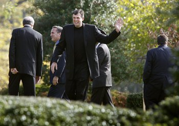 FALLS CHURCH, VA - OCTOBER 31:  Former Boston Celtics player Kevin McHale (C) waves as he leaves Red Auerbach's graveside service at King David Memorial Cemetery October 31, 2006 in Falls Church, Virginia. Auerbach, who led the Boston Celtics to 16 NBA ch