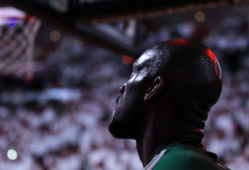 MIAMI, FL - MAY 01:  Kevin Garnett #5 of the Boston Celtics looks on during Game One of the Eastern Conference Semifinals of the 2011 NBA Playoffs against the Miami Heat at American Airlines Arena on May 1, 2011 in Miami, Florida. NOTE TO USER: User expre