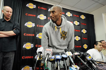 EL SEGUNDO, CA - MAY 11:  Kobe Bryant #24 of the Los Angeles Lakers leaves a news conference at the Lakers training facility on May 11, 2011 in El Segundo, California. The Lakers were swept out of their best of seven series with the Dallas Mavericks four