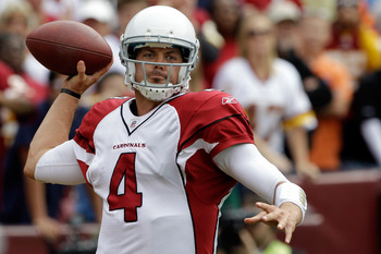 LANDOVER, MD - SEPTEMBER 18: Quarterback  Kevin Kolb #4 of the Arizona Cardinals throws a pass against the Washington Redskins during the second half at FedExField on September 18, 2011 in Landover, Maryland. Washington defeated the Arizona 22-21.  (Photo