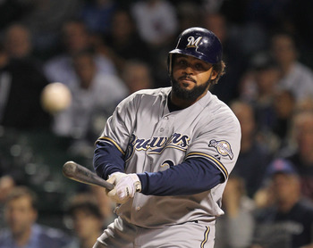 CHICAGO, IL - SEPTEMBER 20: Prince Fielder #28 of the Milwaukee Brewers keeps an eye on a foul ball hit against the Chicago Cubs at Wrigley Field on September 20, 2011 in Chicago, Illinois.  (Photo by Jonathan Daniel/Getty Images)