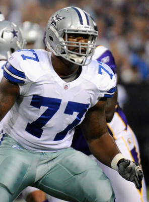 MINNEAPOLIS, MN - AUGUST 27: Tyron Smith #77 of the Dallas Cowboys during the game against the Minnesota Vikings on August 27, 2011 at Hubert H. Humphrey Metrodome in Minneapolis, Minnesota. (Photo by Hannah Foslien/Getty Images)