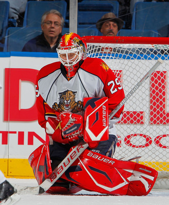 UNIONDALE, NY - NOVEMBER 20:  Tomas Vokoun #29 of the Florida Panthers makes a save at a hockey game against the New York Islanders at the Nassau Coliseum on November 20, 2010 in Uniondale, New York.  (Photo by Paul Bereswill/Getty Images)